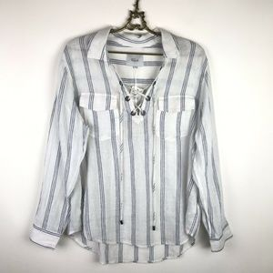 Rails Matea Flamenco Stripe Top White Blue Linen